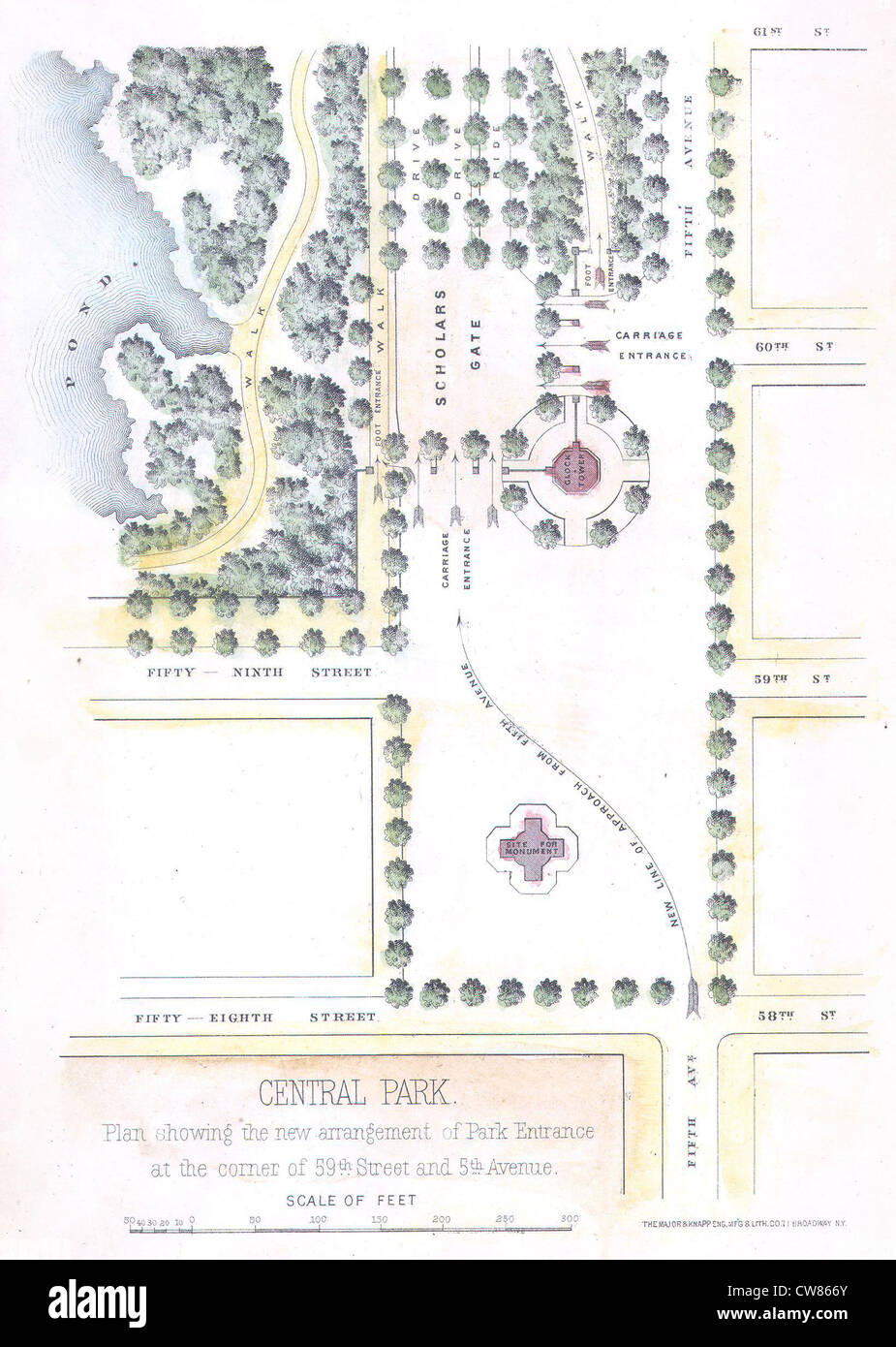 1869 Knapp Map of the Southeast Corner of Central Park (Grand Army Plaza) New York City - Stock Image