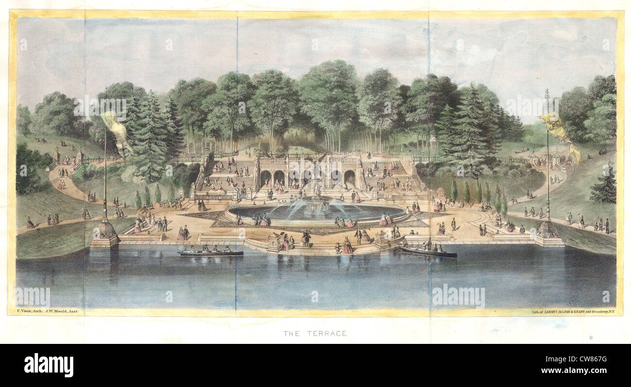 1869 Knapp View of Bethesda Terrace, Central Park, New York City - Stock Image