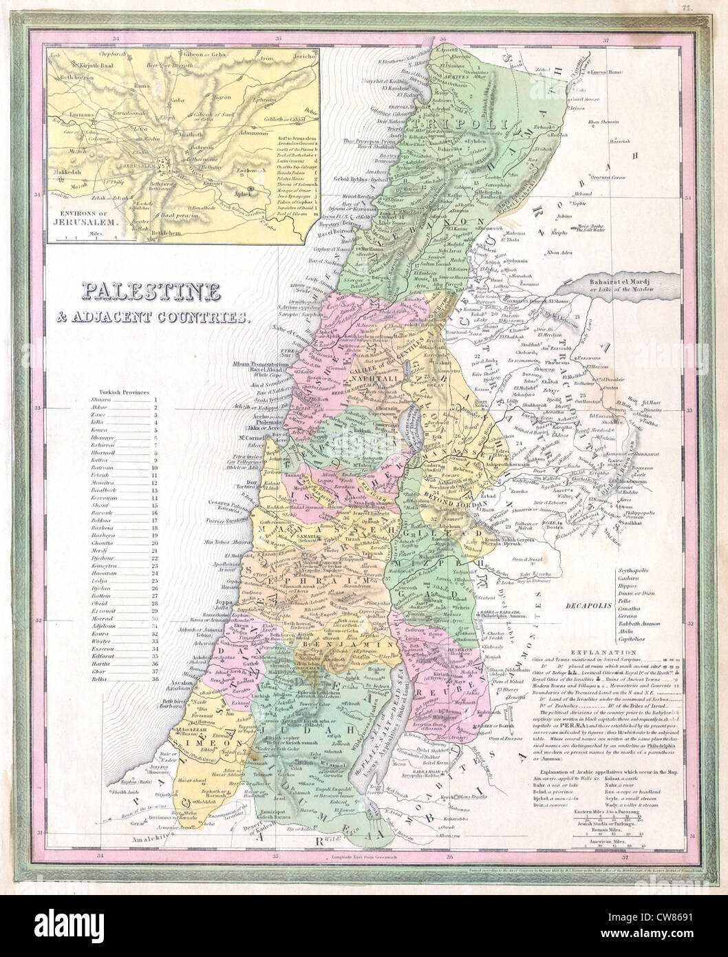 1836 Tanner Map of Palestine - Israel - Holy Land - Stock Image