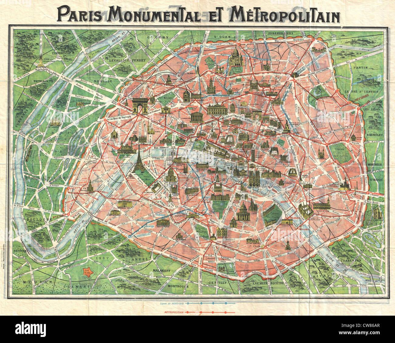 1920 Art Nouveau Monument Map of Paris, France - - Stock Image