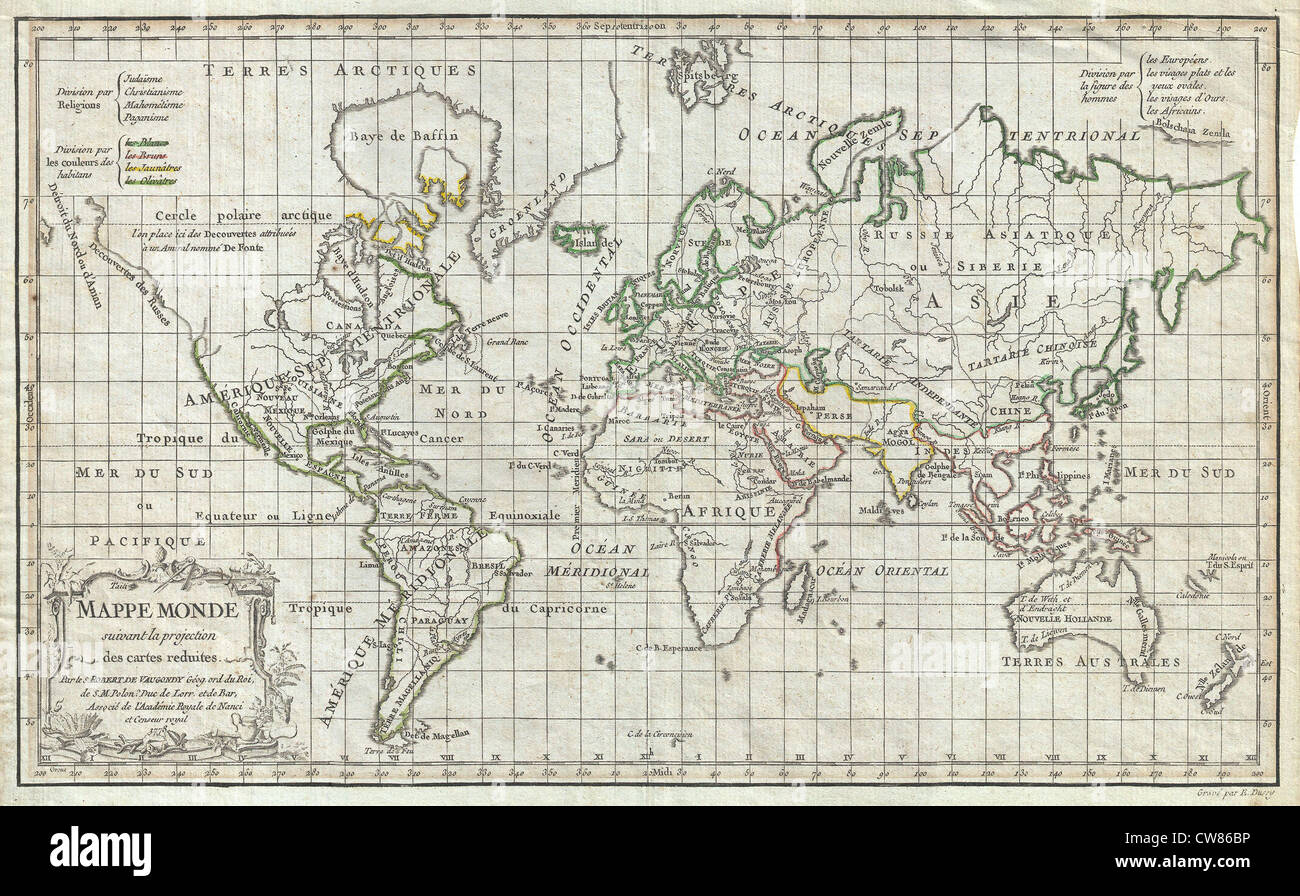 1784 Vaugondy Map Of The World On Mercator Projection   Stock Image