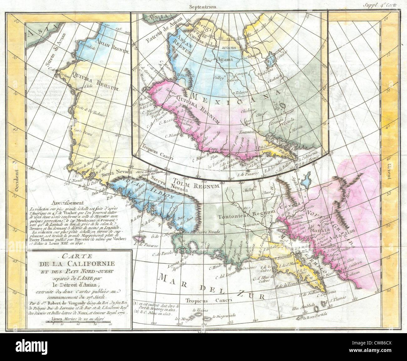 1768 Vaugondy Map of California and Alaska - Stock Image