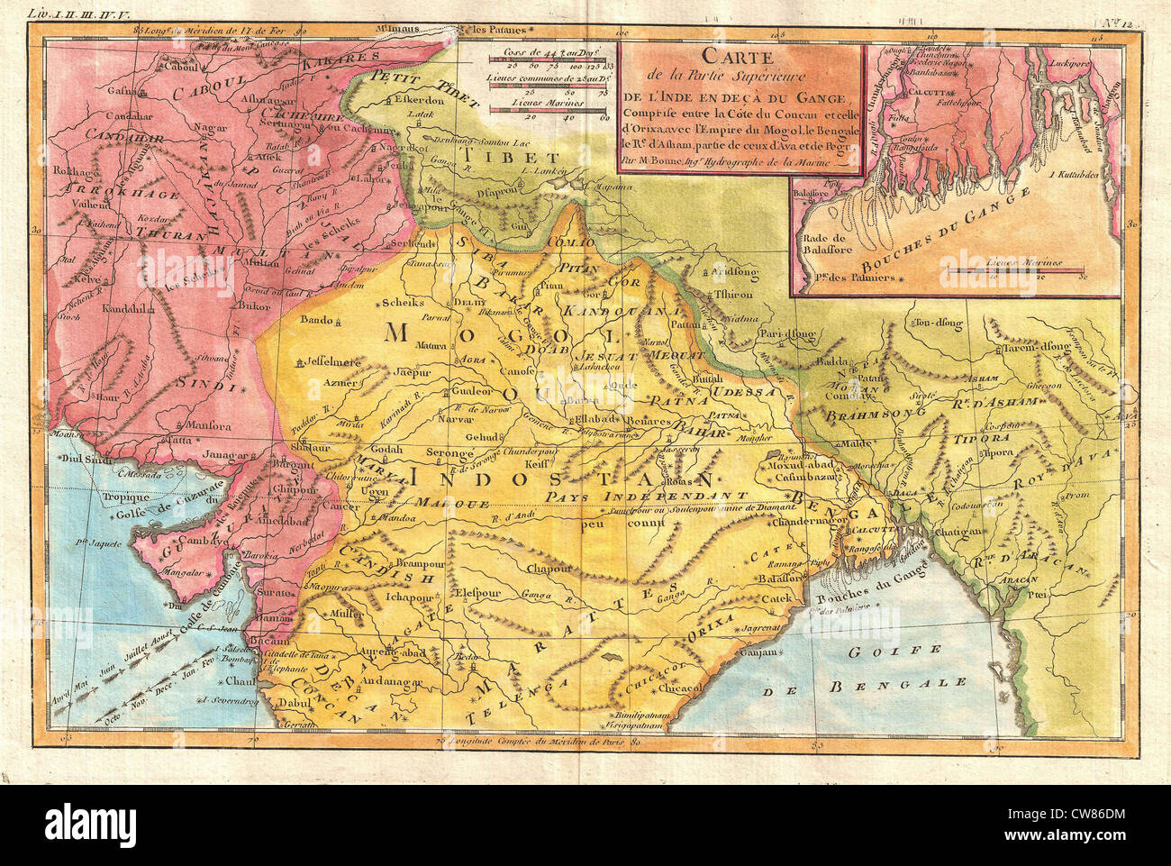 1780 Bonne Map Of Northern India Stock Photo 49967840 Alamy