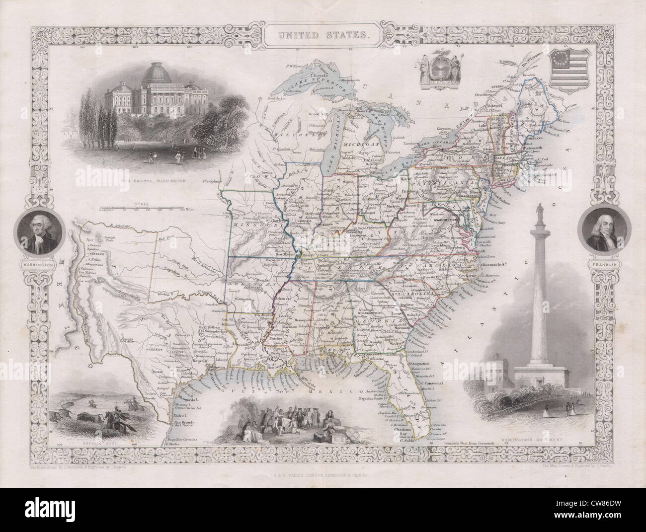 1850 Tallis Map of the United States ( Texas at fullest extent) - Stock Image