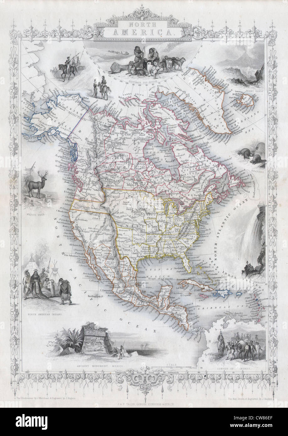 1850 Tallis Map of North America ( Texas at fullest - Stock Image