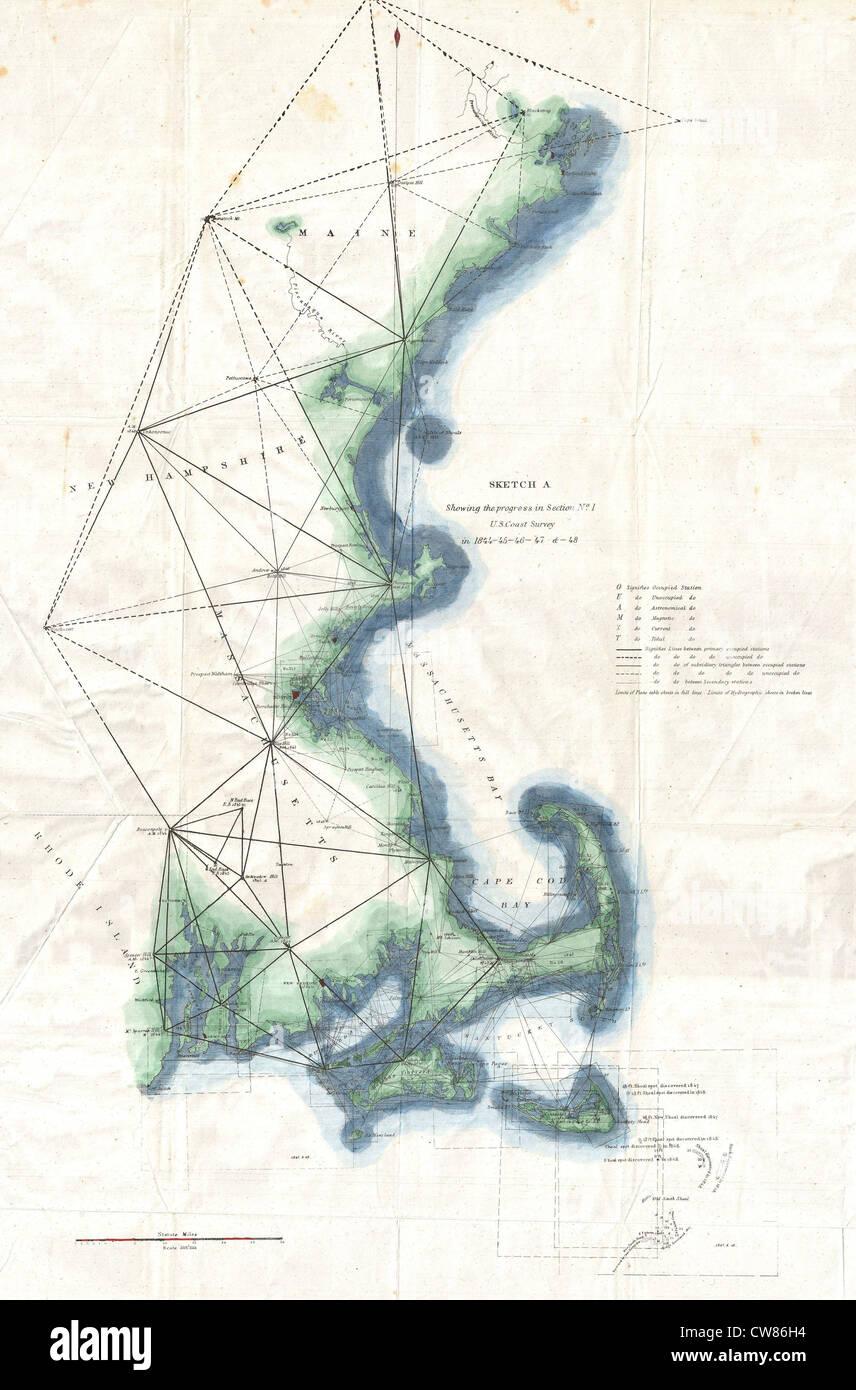 1848 U.S. Coast Survey Map of New England Stock Photo ...