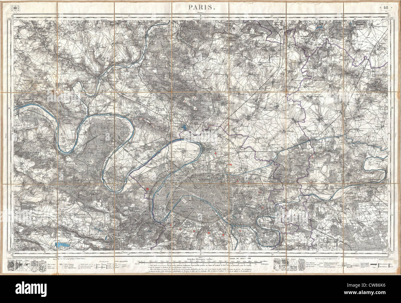 1886 Depot de la Guerre Pocket Map of Paris and Environs - Stock Image