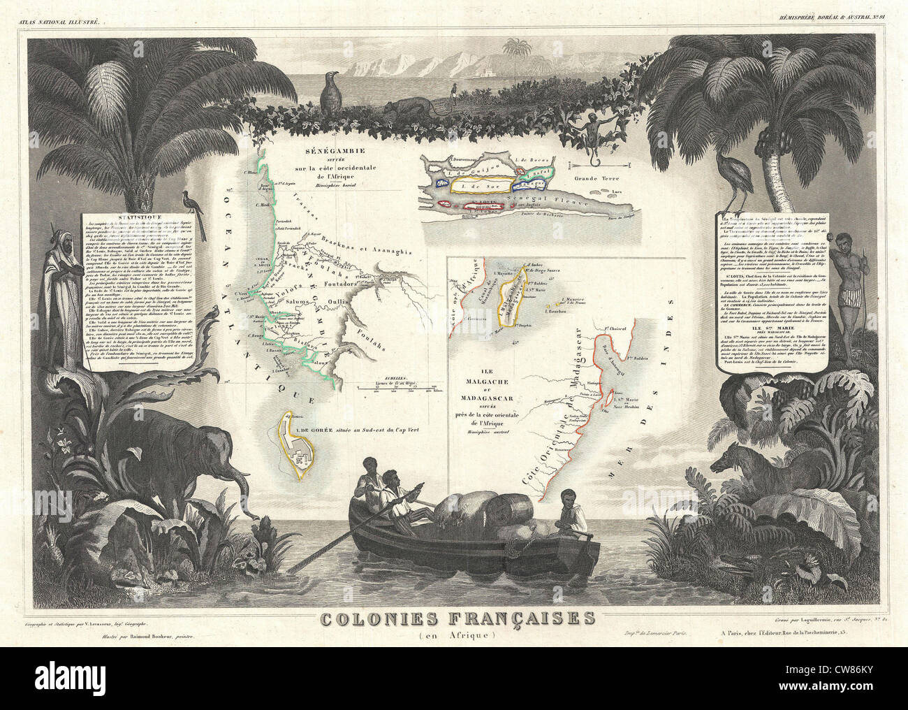 1852 Levassuer Map of Senegal, Senegambia, and Madagascar Stock Photo