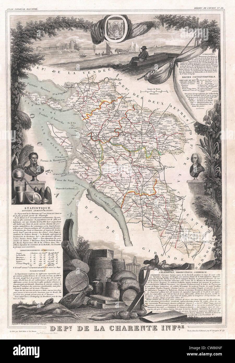 1852 Levasseur Map of the Department De La Charente Maritime - - Stock Image