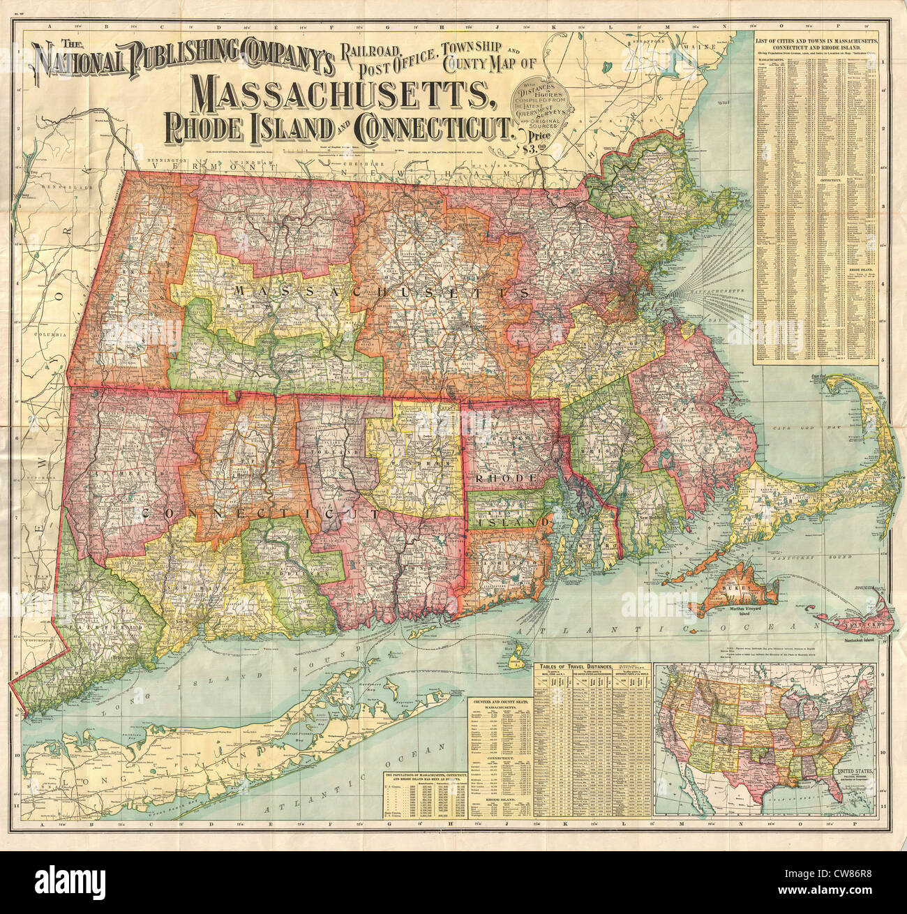 1900 National Publishing Railroad Map of Connecticut, Massachusetts ...