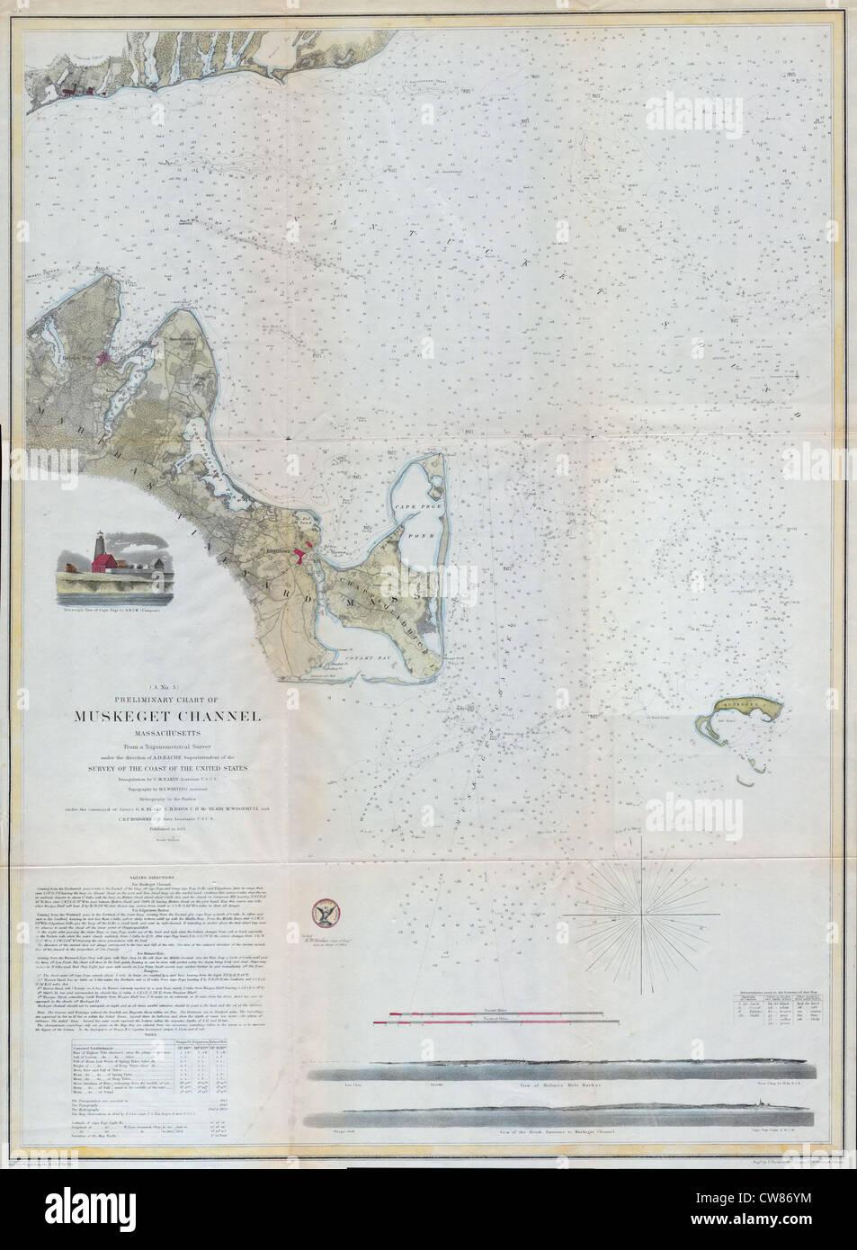 1859 Map of Martha's Vineyard (Marthas Vineyard), Massachusetts - Stock Image