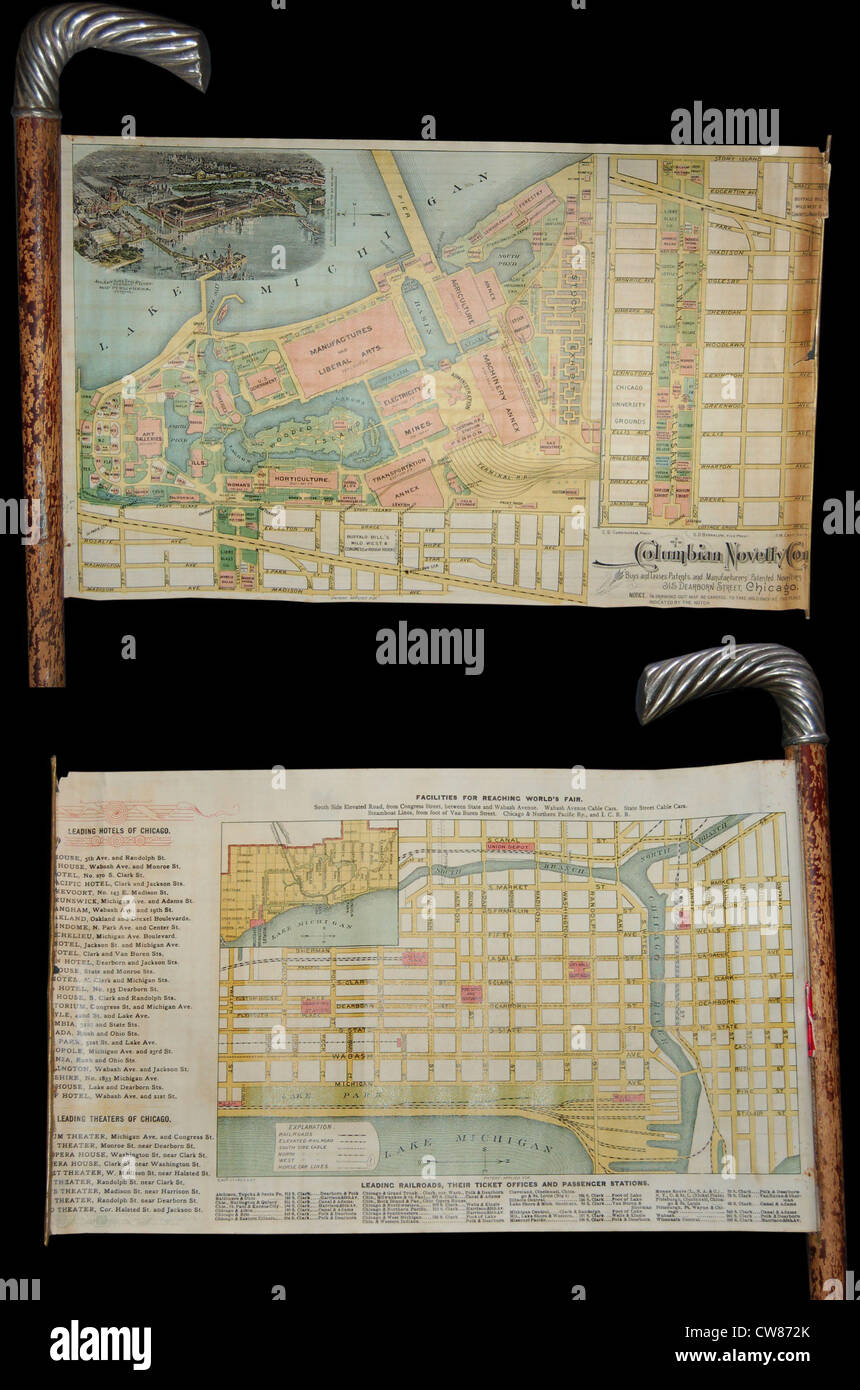 1893 Novelty Cane Map of the Chicago World's Fair or Columbian Exposition - Stock Image