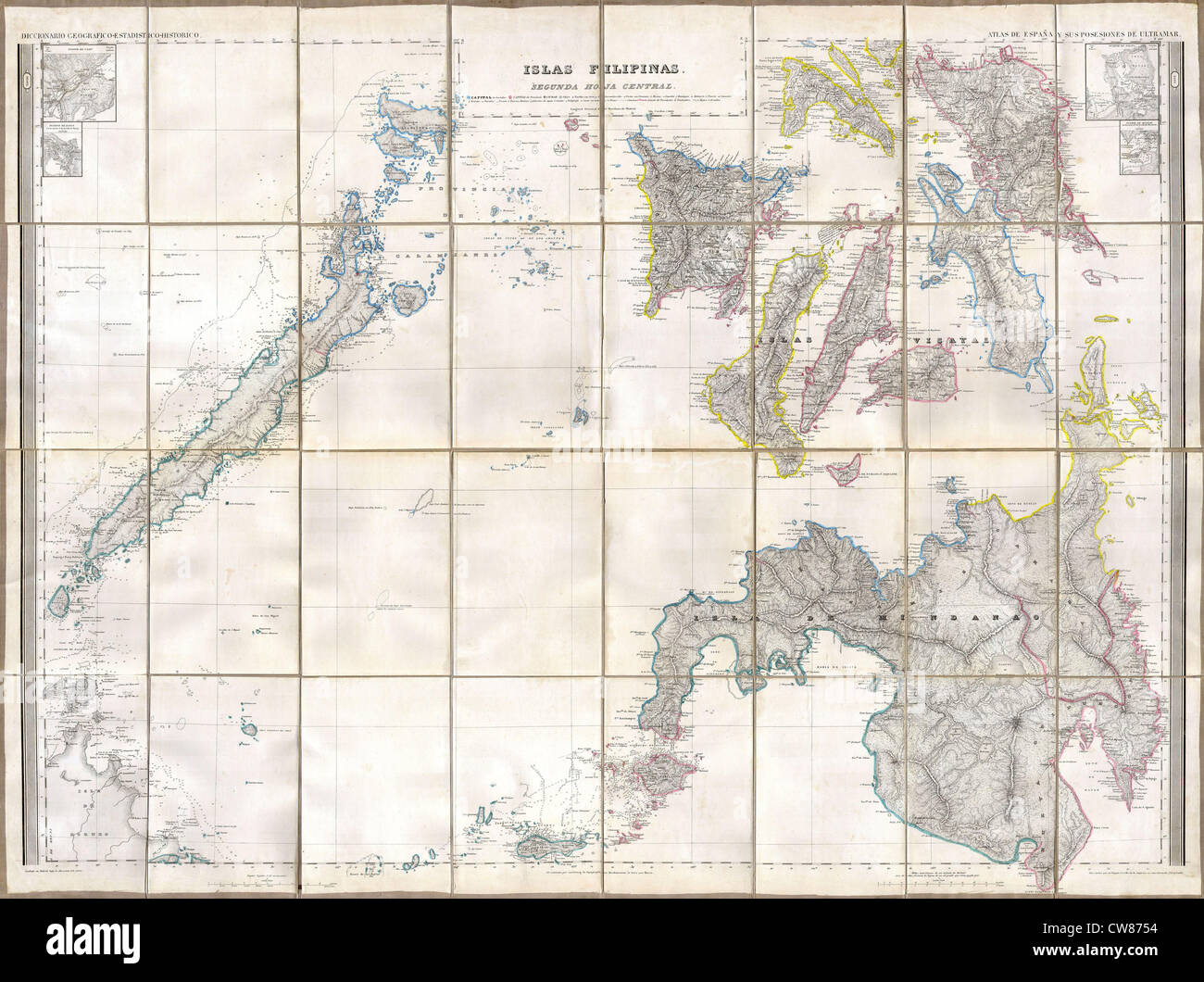 1852 Coello - Morata Map of the Southern Philippines - Stock Image