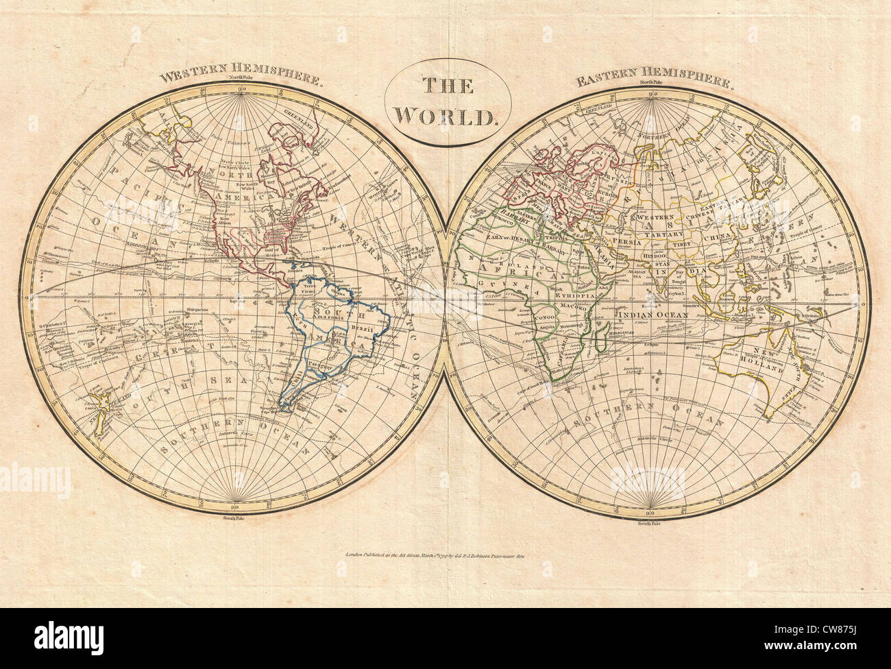1799 Cruttwell Map of the World in Hemispheres - Stock Photo