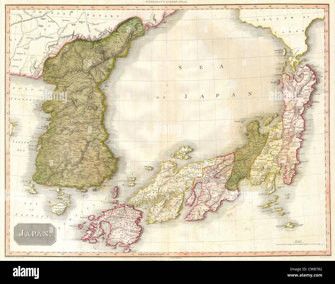 Korea japan map stock photos korea japan map stock images alamy 1818 pinkerton map of korea and japan stock image gumiabroncs Image collections