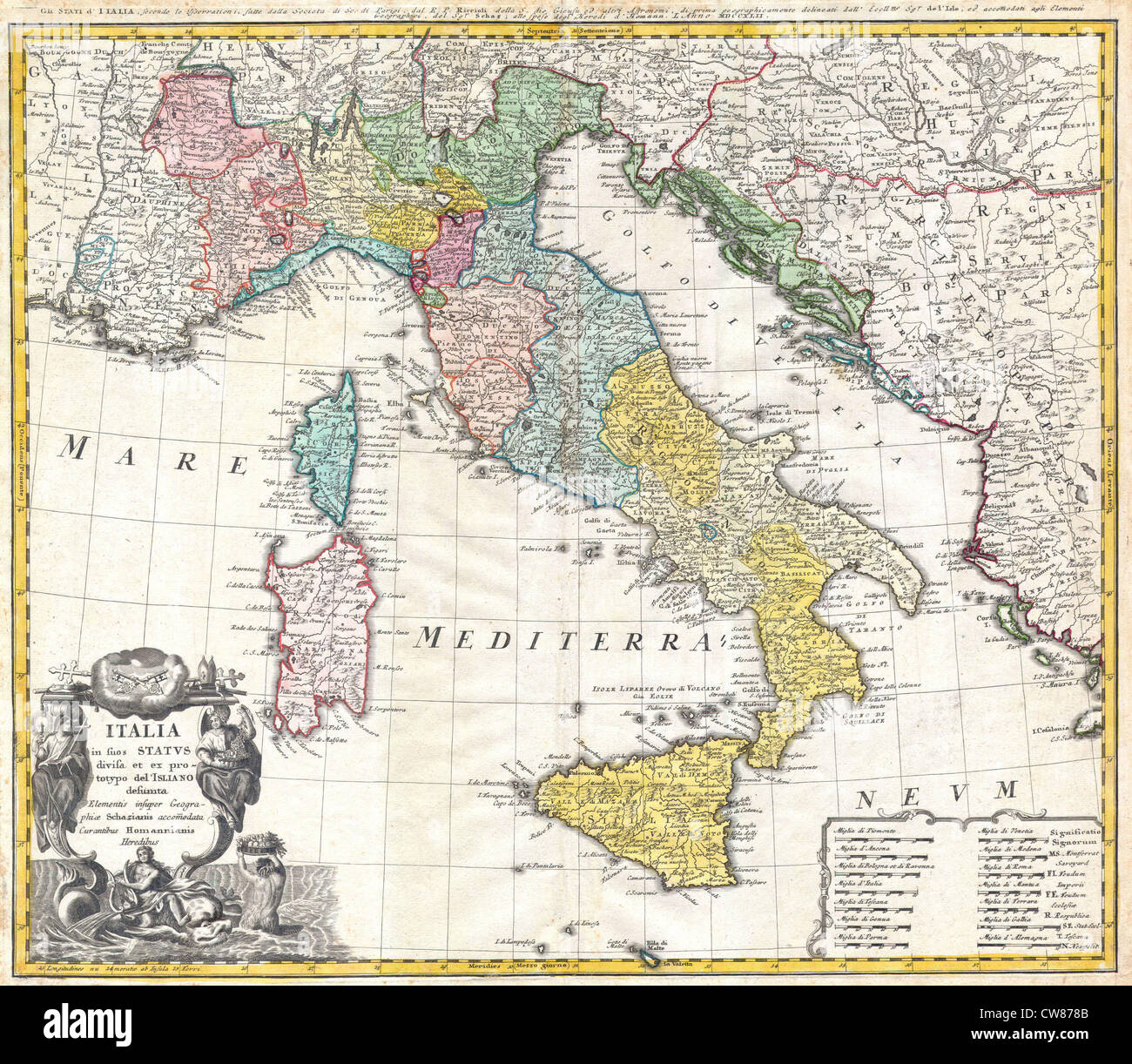 1742 Homann Heirs Map of Italy - Stock Image