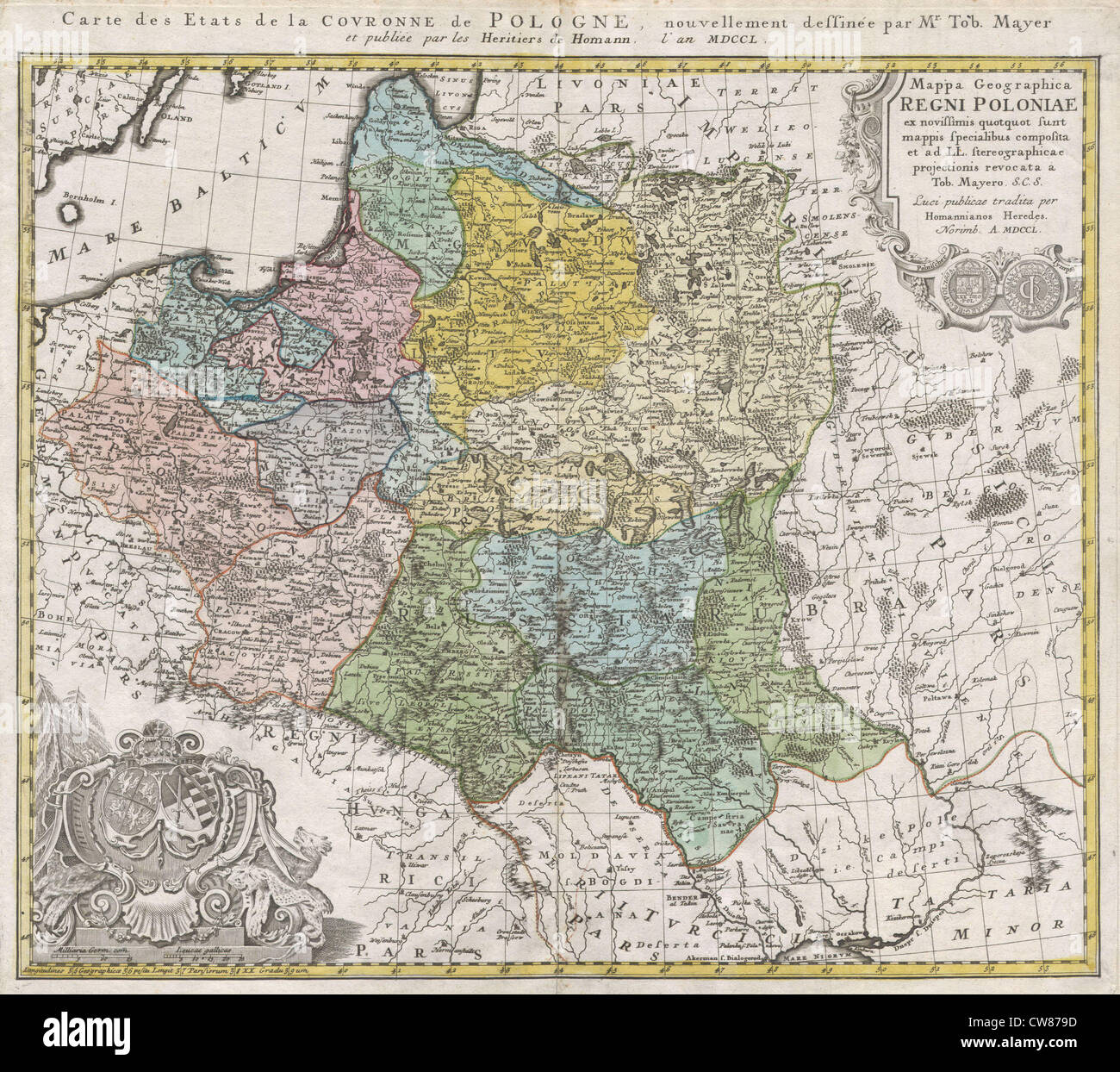 1750 Homann Heirs Map of Poland - Stock Image