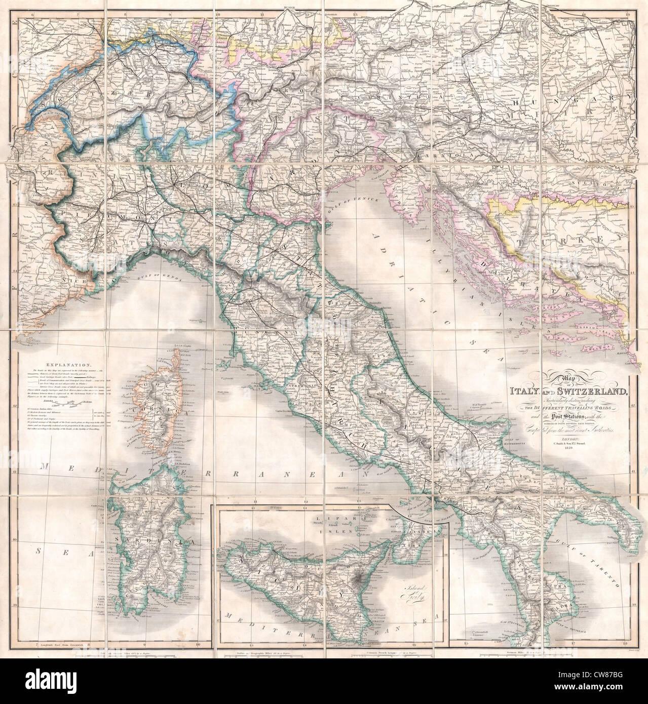 1859 Smith Folding Case Map of Italy and Switzerland - Stock Image