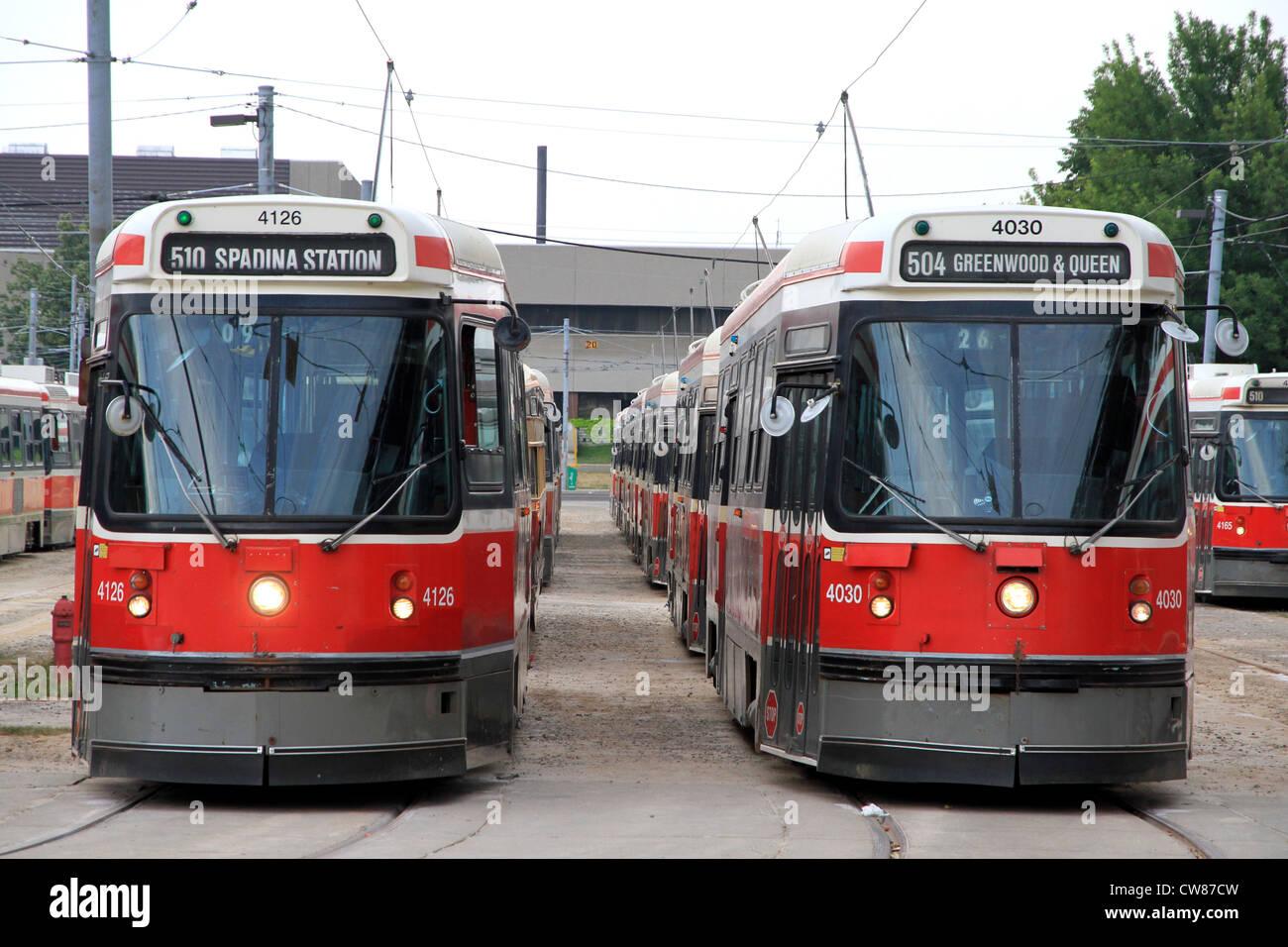Toronto streetcars at a city depot - Stock Image