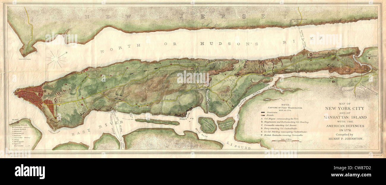 1878 Bien and Johnson Map of New York City (Manhattan Island) During the Revolutionary War - Stock Image