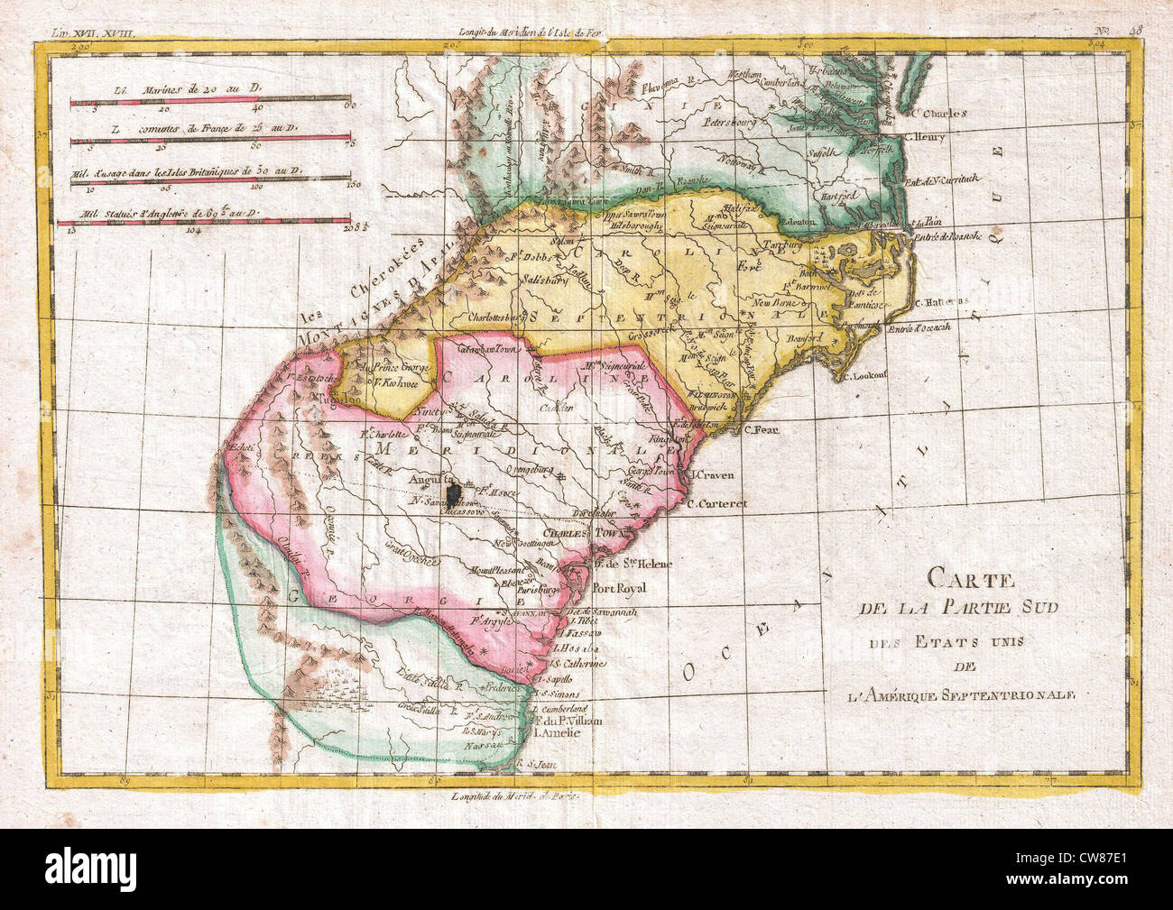 1780 Raynal and Bonne Map of Southern United States Stock Photo ...