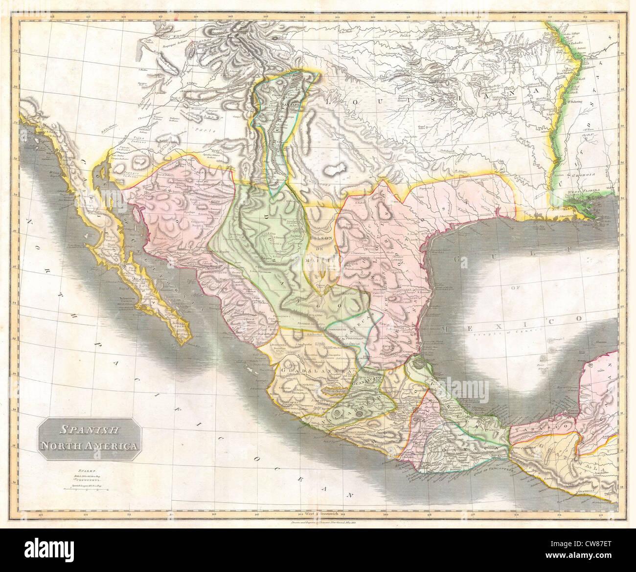 1814 thomson map of texas mexico louisiana