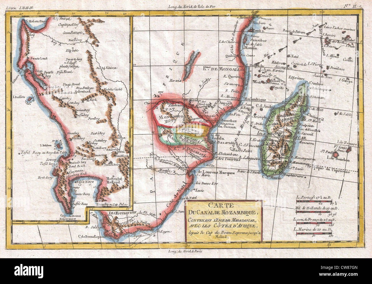 Map Of South Africa And Zimbabwe.1780 Raynal And Bonne Map Of South Africa Zimbabwe Madagascar And