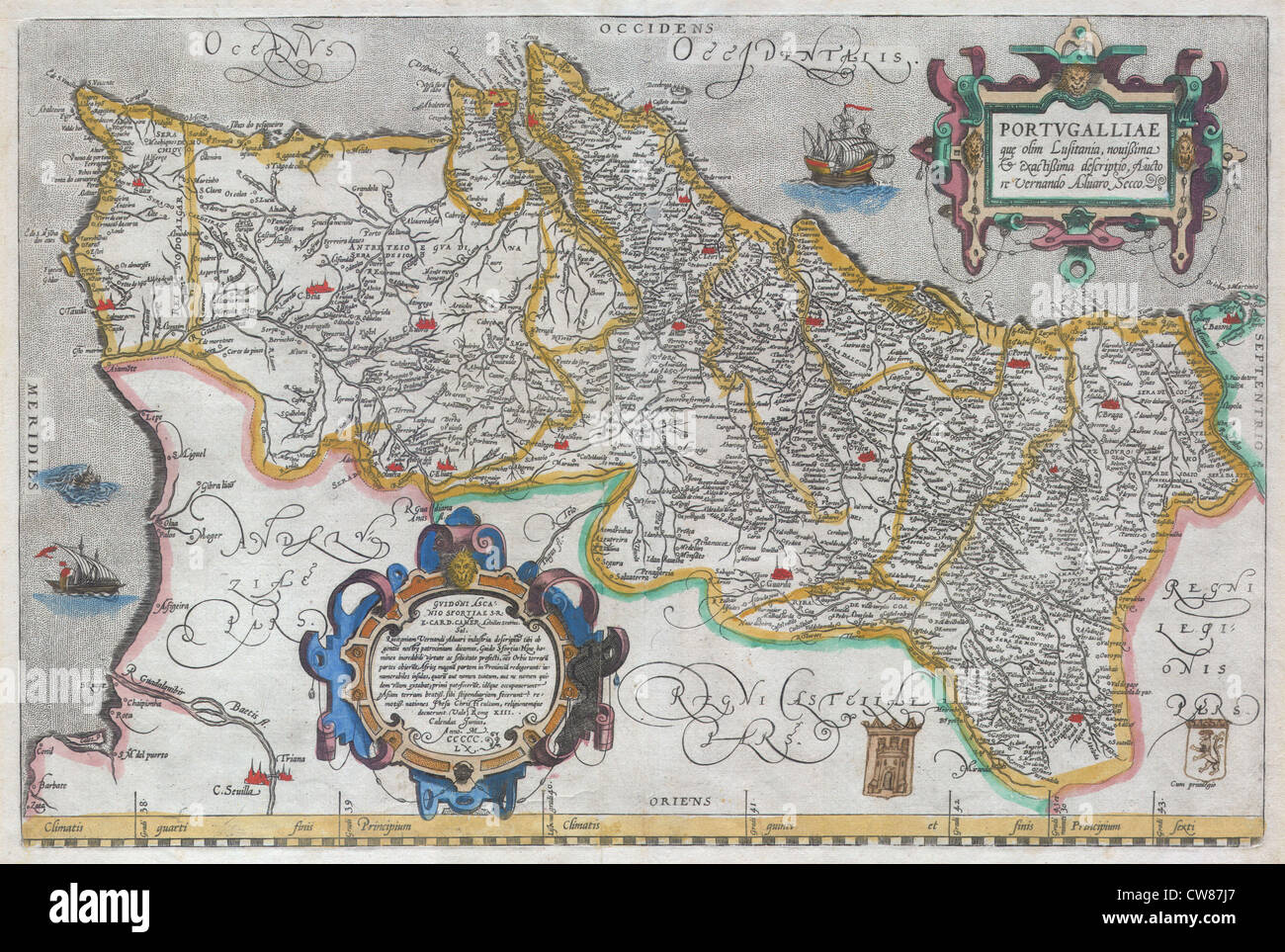 1579 Ortelius Map of Portugal ( Porvgalliae - Stock Image