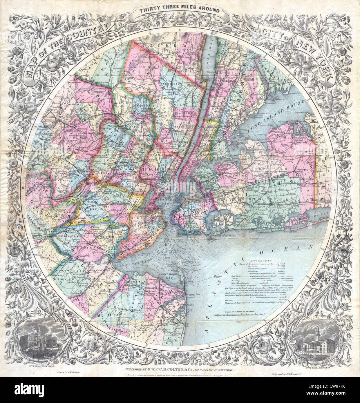 1846 - 1879 Colton Map of New York City ^ Vicinity (33 Miles Around) - Stock Image