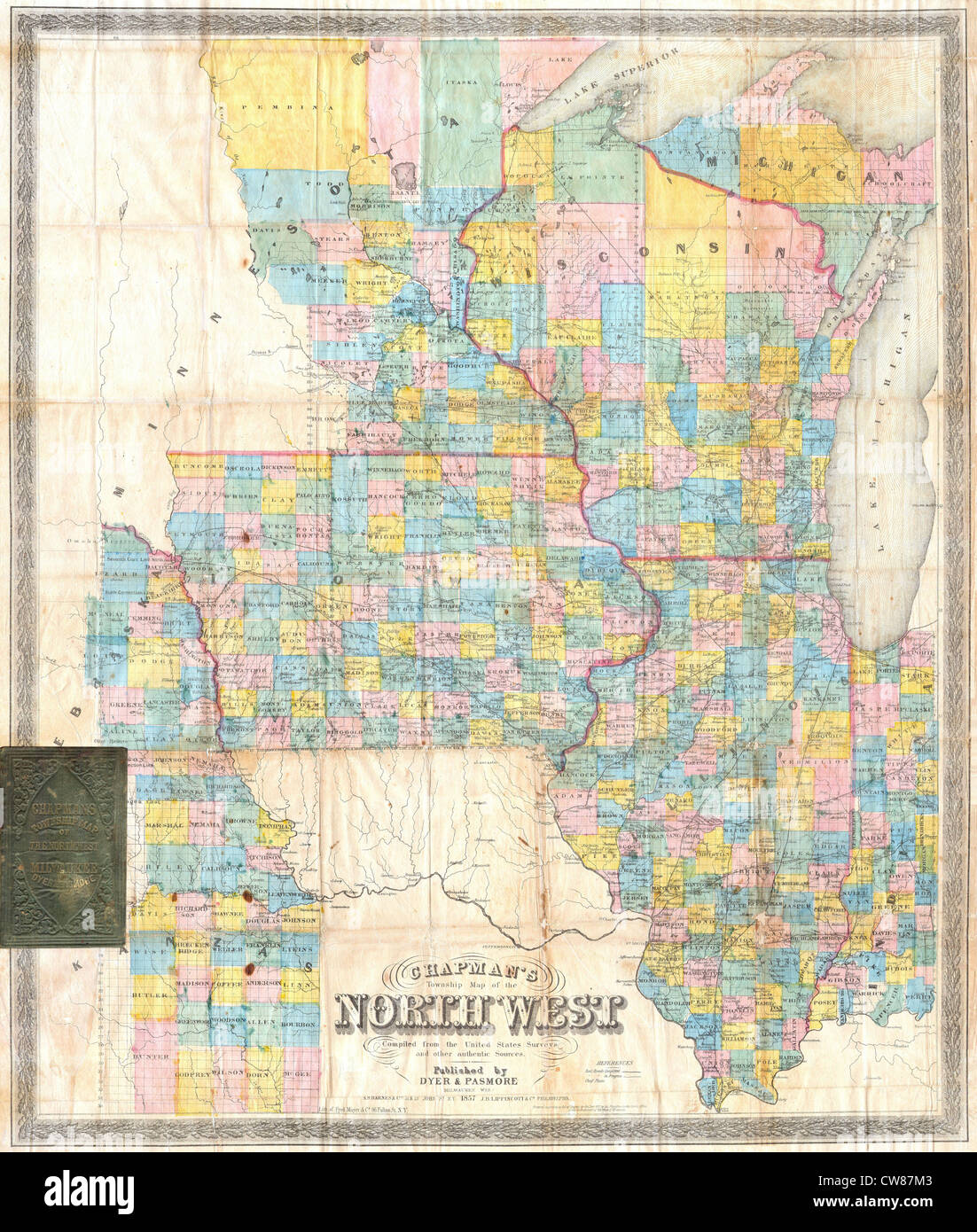 Map Of Illinois And Iowa 1857 Chapman Pocket Map of the North West ( Illinois, Wisconsin