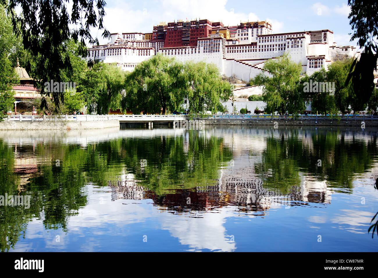 The Potala Palace Lhasa Tibet day reflection - Stock Image