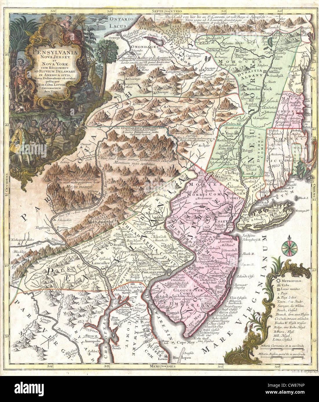 1756 Lotter Map Of Pennsylvania New Jersey New York Stock Photo