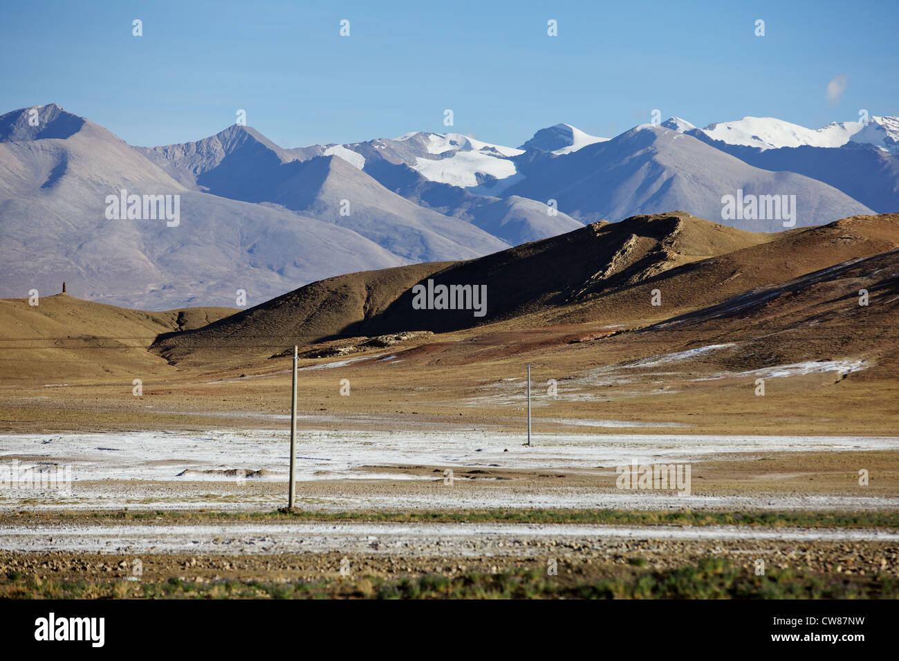 snow Tibet travel mountains - Stock Image