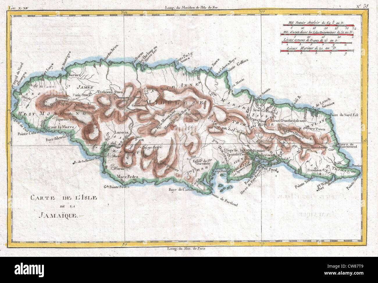 1780 Raynal and Bonne Map of Jamaica, West Indies Stock Photo ...