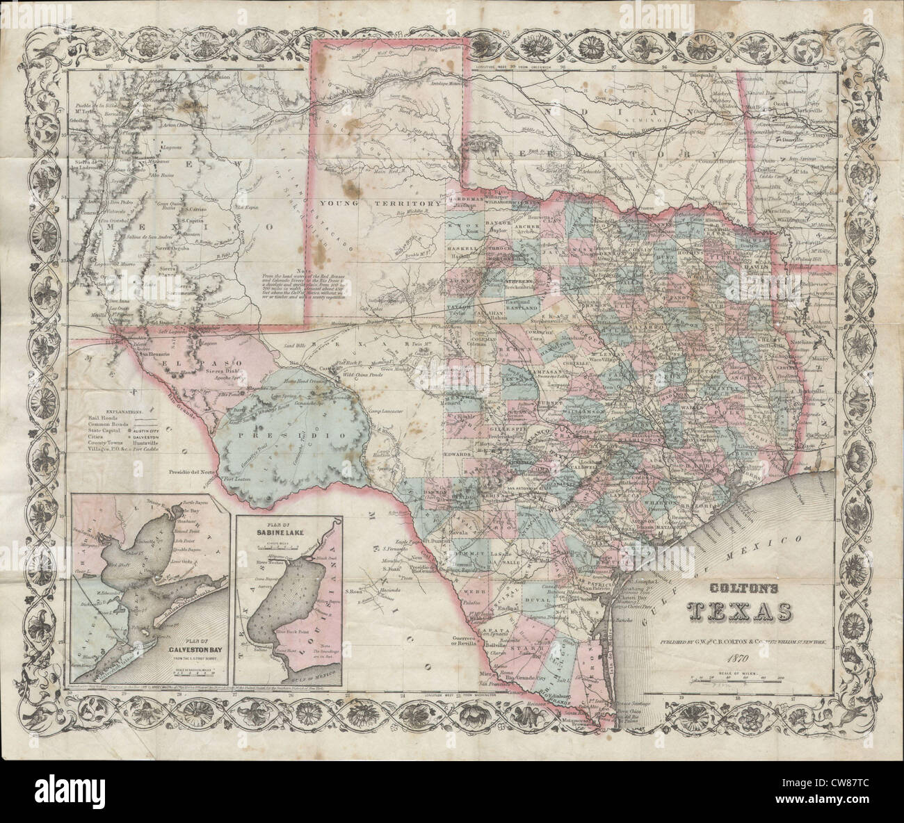 1870 Map Of Texas.1870 Colton Pocket Map Of Texas Stock Photo 49968924 Alamy