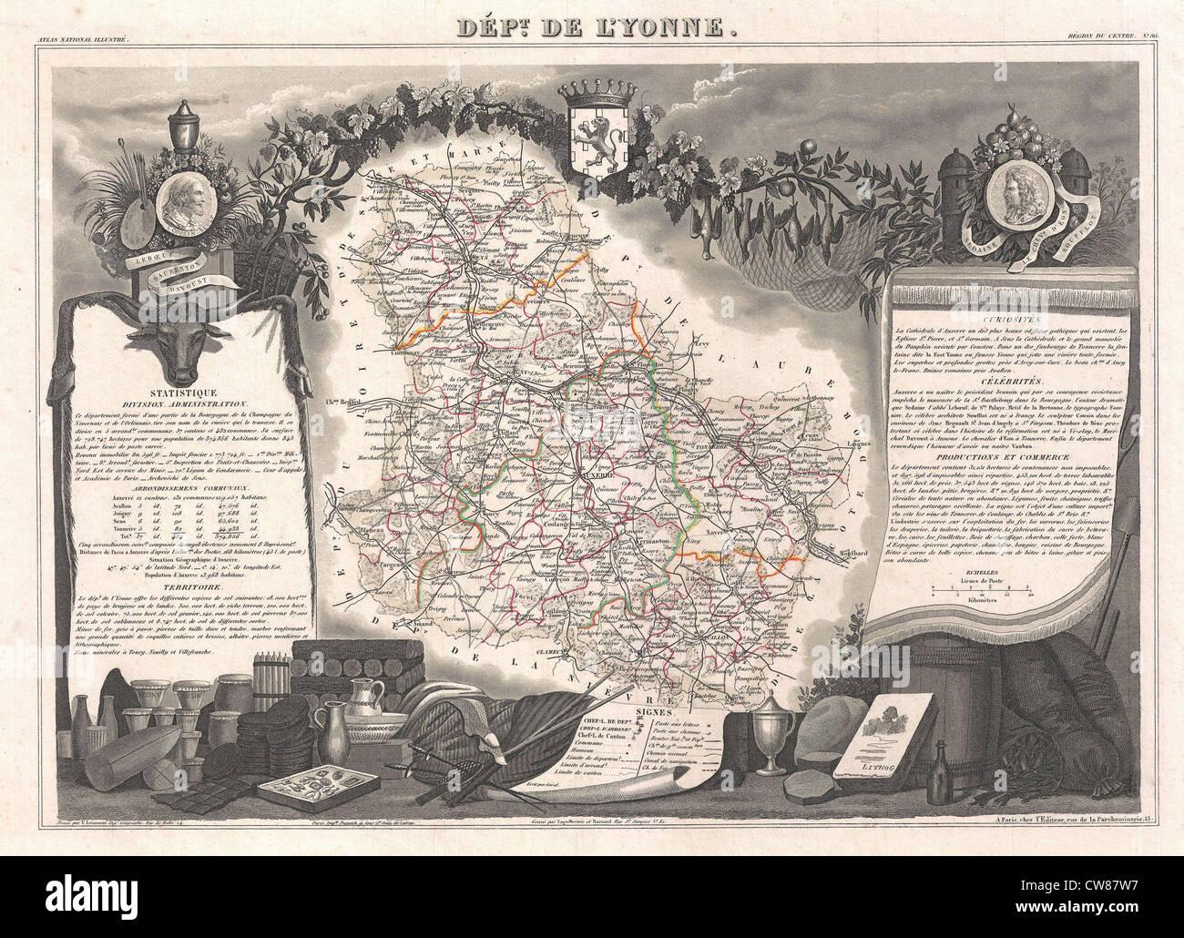 1852 Levasseur Map of the Department De L'Yonne (Burgundy or Bourgogne Wine Region) - Stock Image