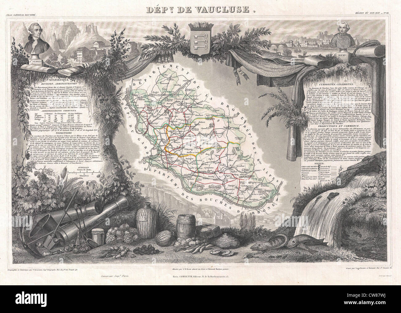 1852 Levasseur Map of the Department De Vaucluse, France - Stock Image