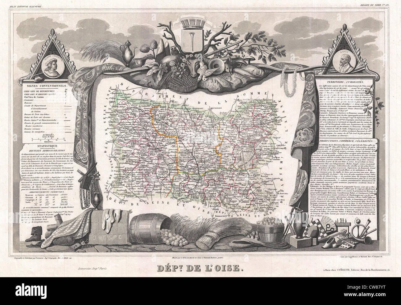 1852 Levasseur Map of the Department De L'Oise, France - Stock Image