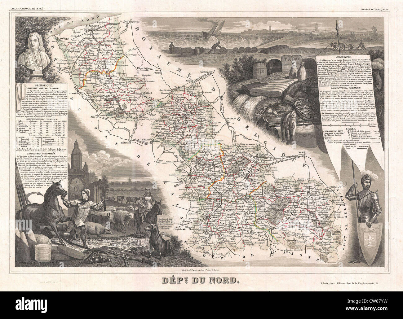 1852 Levasseur Map of the Department Du Nord, France - Stock Image