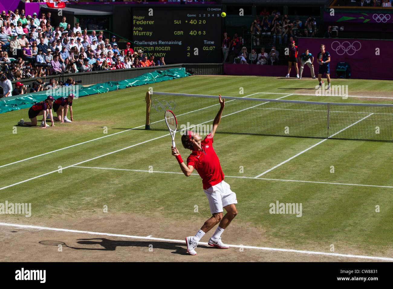 Roger Federer (SUI) wins the silver medal in the Men's Tennis Final at the Olympic Summer Games, London 2012 - Stock Image