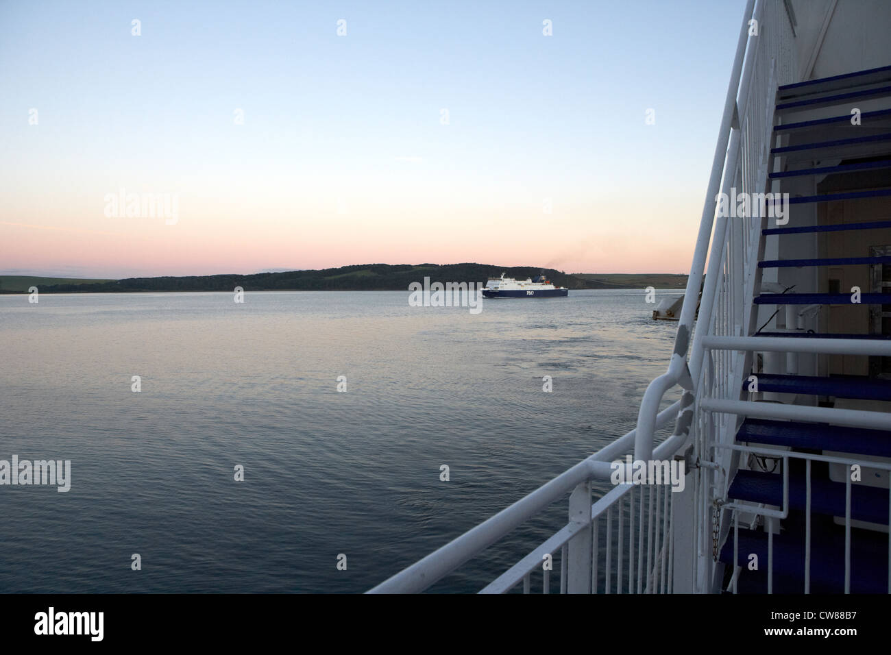 p&o irish sea ferry mv european causeway in loch ryan viewed from stena line superfast scotland uk united kingdom Stock Photo