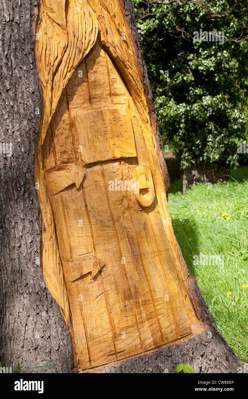 Tree stump carving stock photos