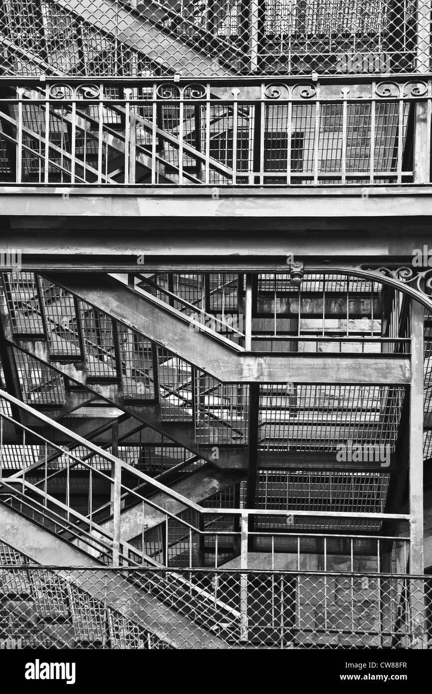 Metal stairs and railing in black and white Stock Photo