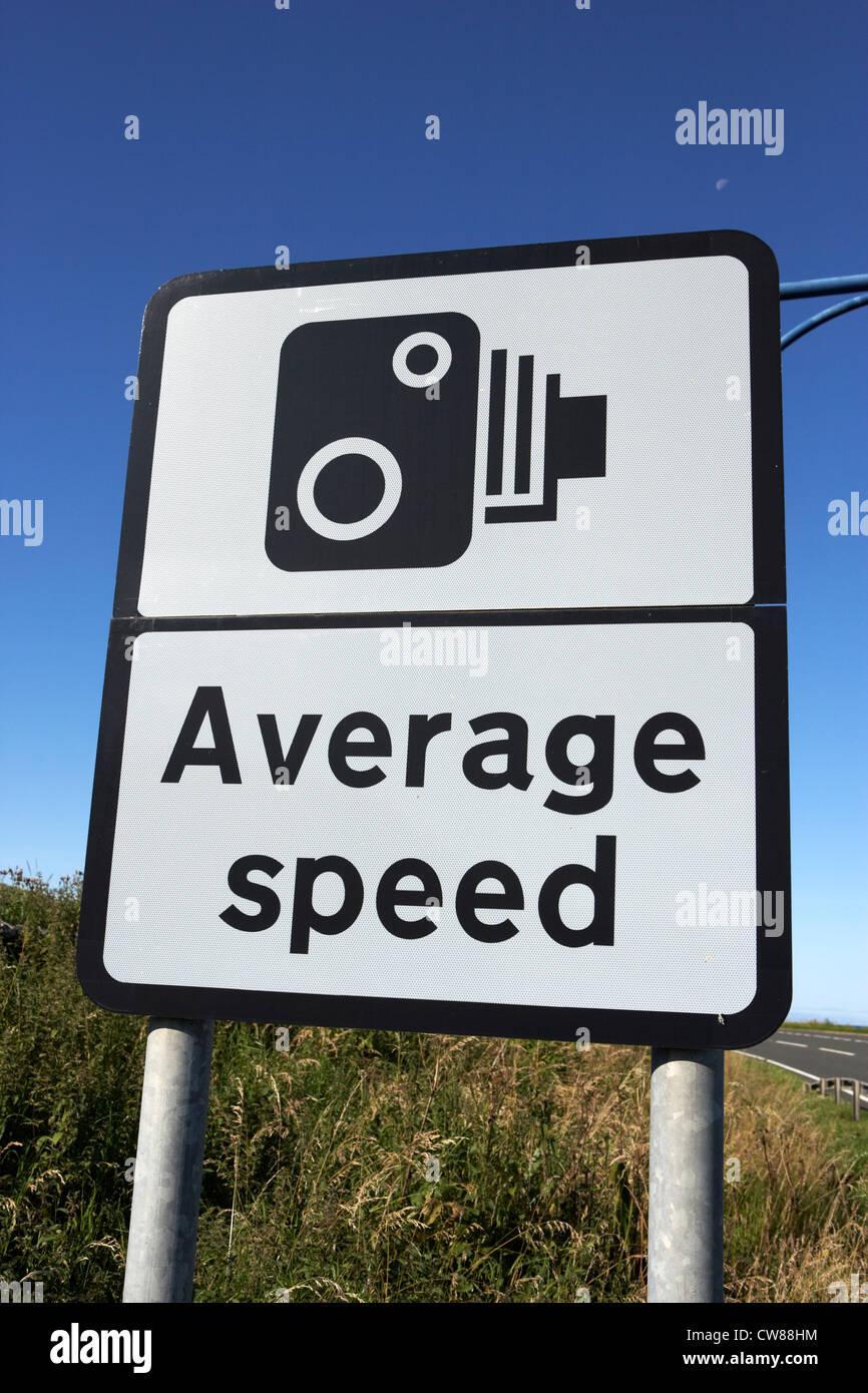 average speed road safety traffic cameras warning sign scotland uk united kingdom - Stock Image