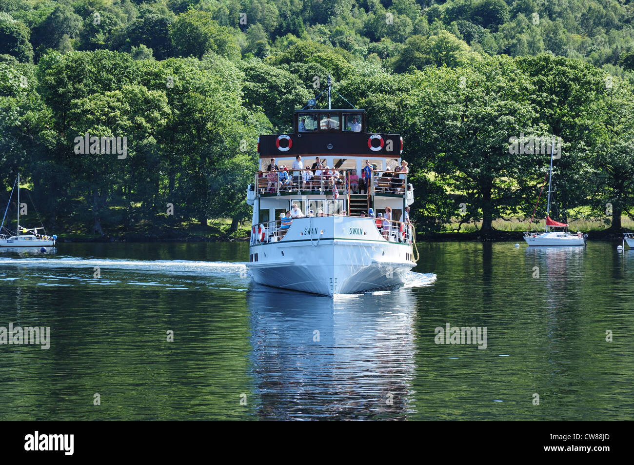The steamship MV Swan, Lake Windermere, Cumbria, England, UK - Stock Image