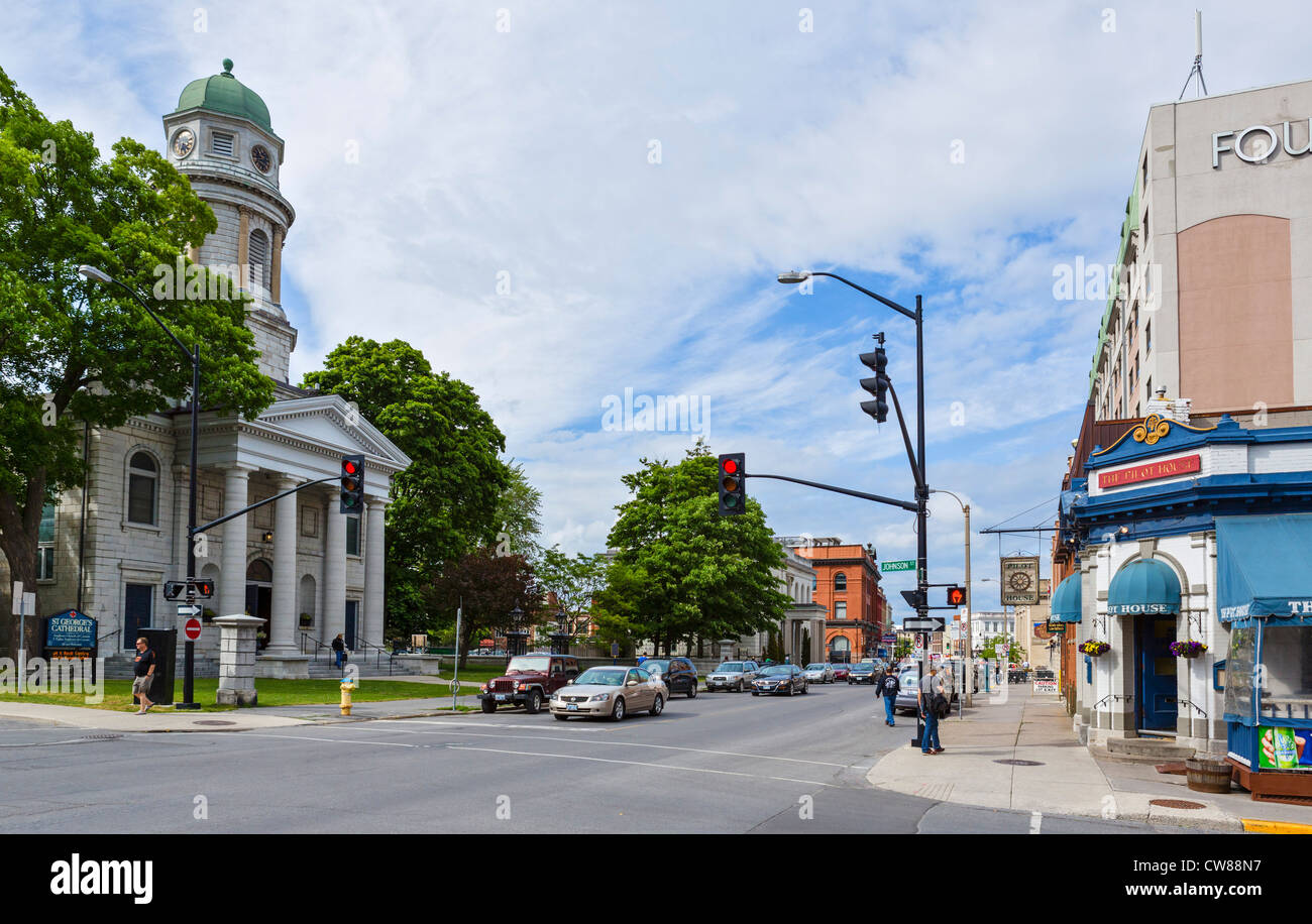 View down Ontario Street with St George's Cathedral to the left, Kingston, Ontario, Canada - Stock Image