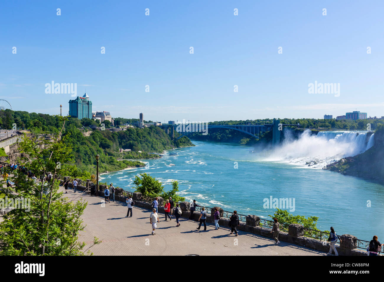 Tourists viewing theAmerican Falls from the Canadian side, Niagara Falls , Ontario, Canada - Stock Image