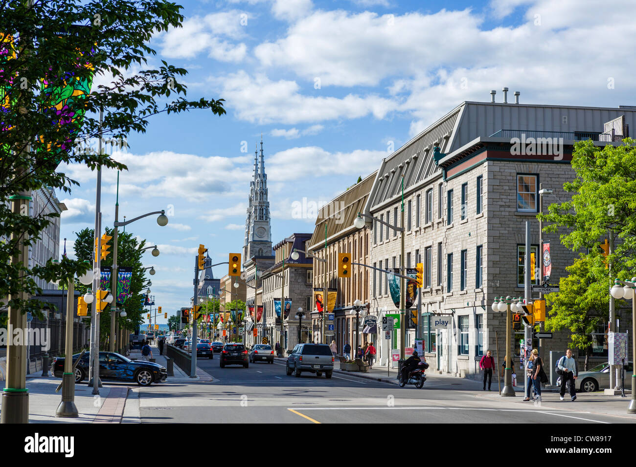 Historic buildings on Sussex Drive looking towards the Cathedral, Ottawa, Ontario, Canada - Stock Image