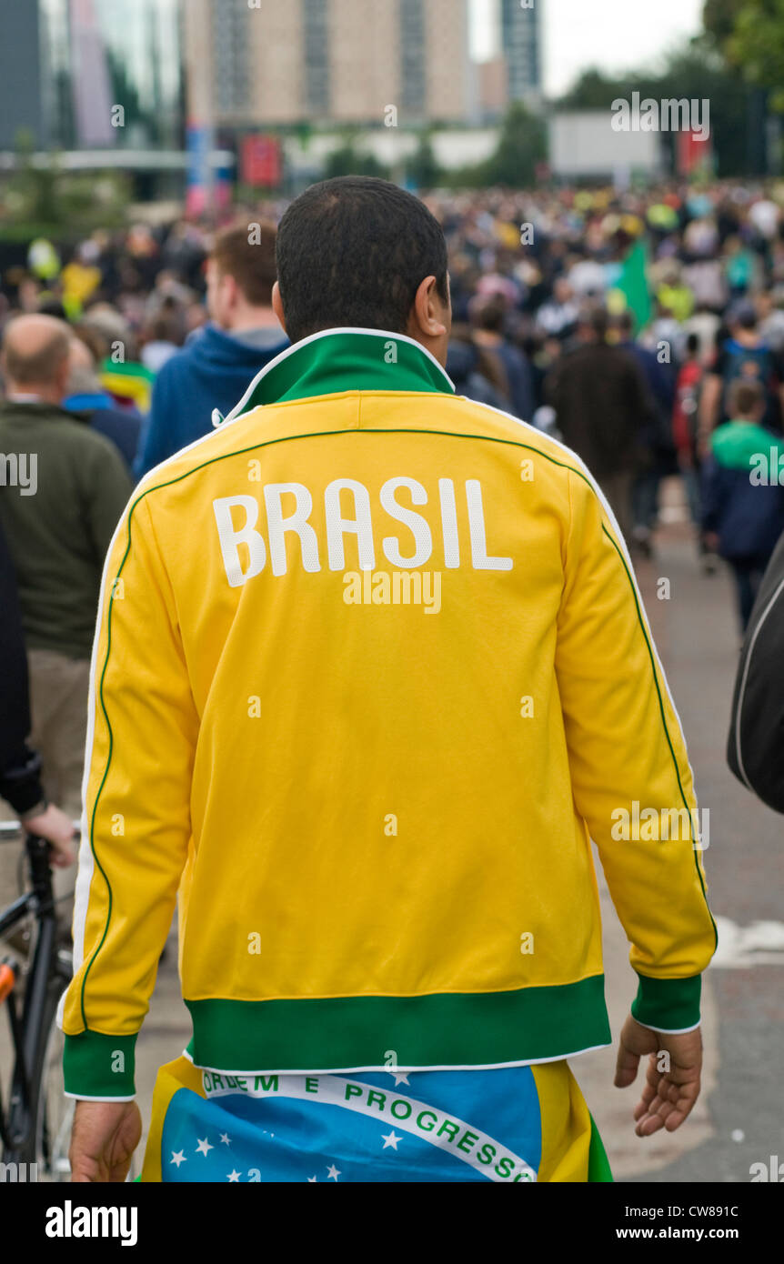 A Brazil supporter outside Old Trafford football ground during the London 2012 Olympics - Stock Image