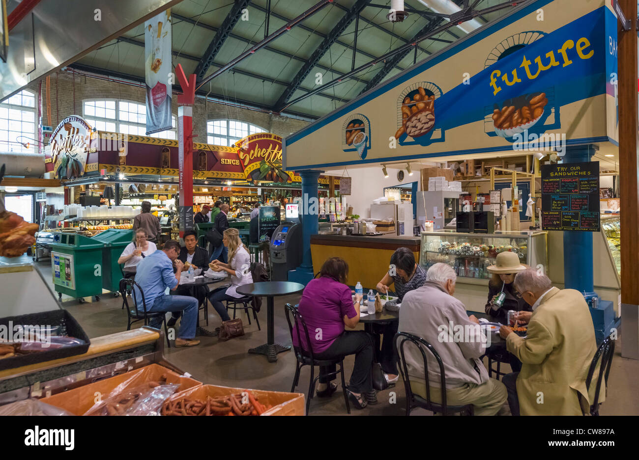 Cafe in St Lawrence Market, Toronto, Ontario, Canada - Stock Image